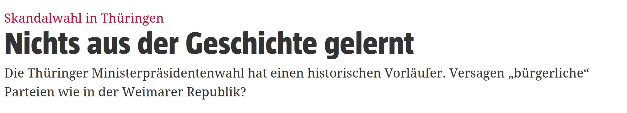 """""""Skandalwahl in Thüringen: Nichts aus der Geschichte gelernt"""""""