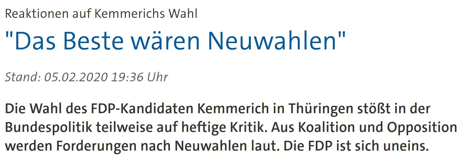 """""""Reaktionen auf Kemmerichs Wahl: 'Das Beste wären Neuwahlen'"""""""