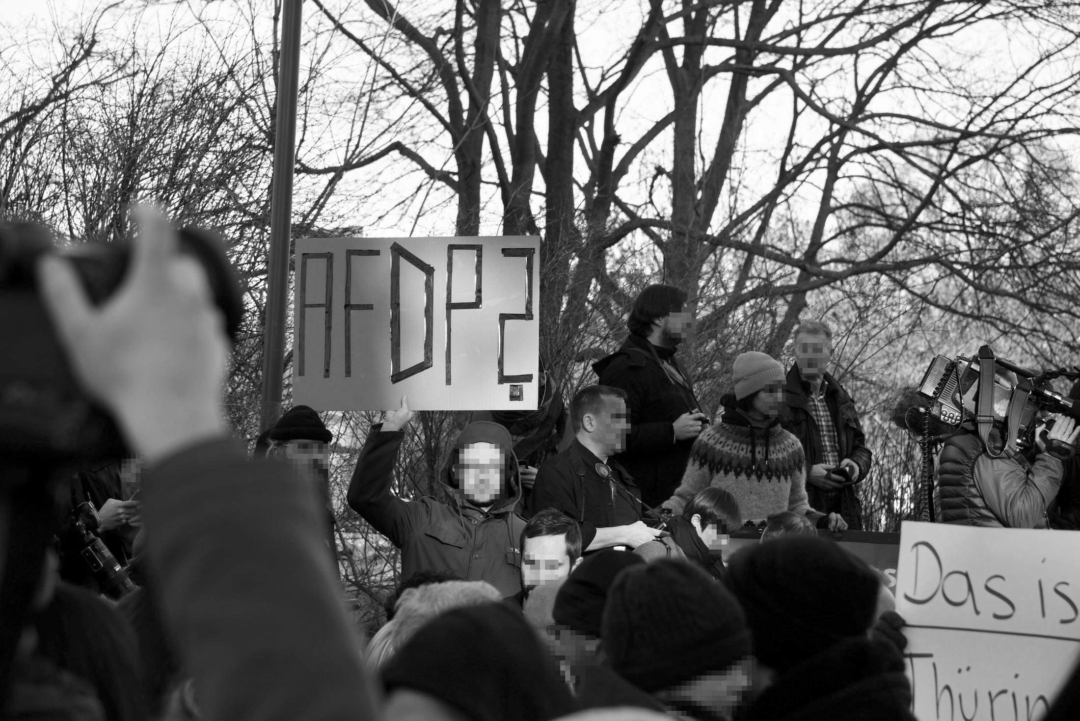 Proteste vor dem Landtag am 5. Februar 2020