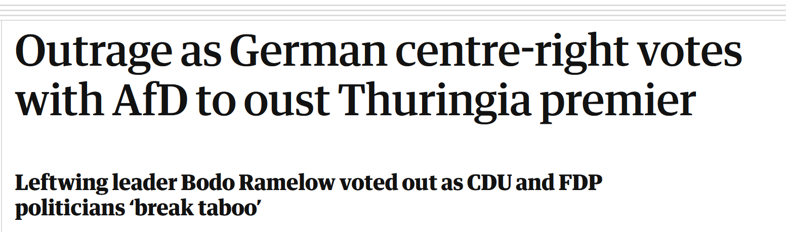 """Outrage as German centre-right votes with AfD to oust Thuringia premier"""