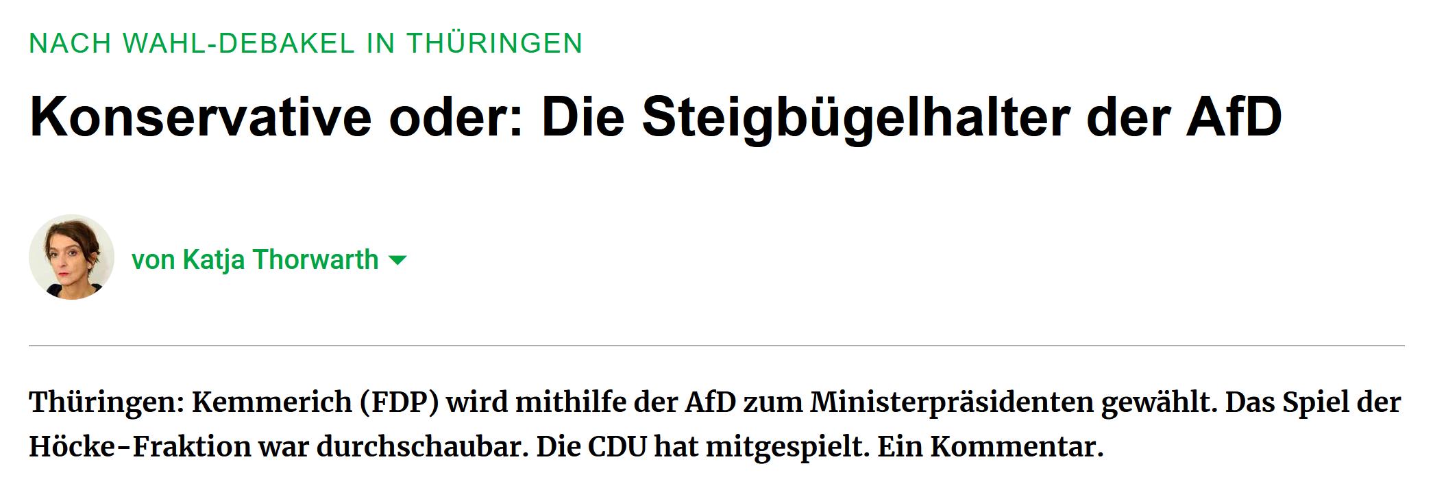 """""""Nach Wahldebakel in Thüringen: Konservative oder: Die Steigbügelhalter der AfD"""""""