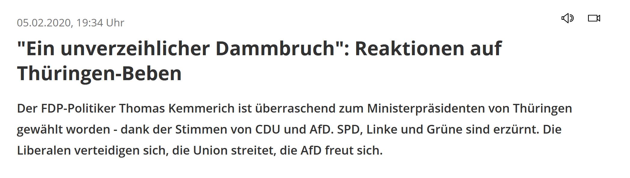 """""""Ein unverzeilicher Dammbruch: Reaktionen auf Thüringen-Beben"""""""