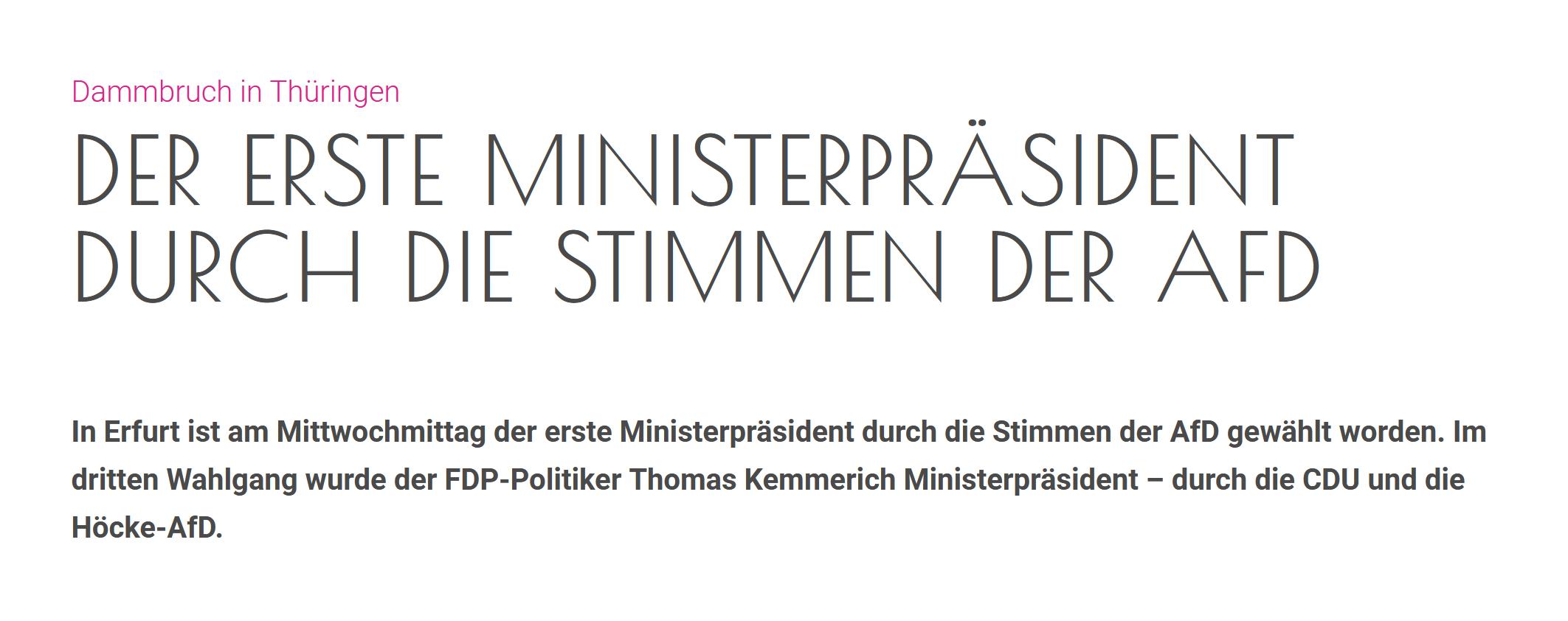 """""""Dammbruch in Thüringen: Der erste Ministerpräsident durch die Stimmen der AfD"""""""